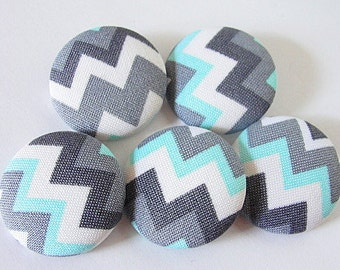 """FABRIC Covered BUTTONS-Sew on Buttons-CHEVRON Pattern-Aqua-Grey-White-Black-1 1/8""""-28mm-Set of Five (5)"""