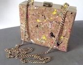 Small Cork Purse, Boxy, Shoulder Bag, Brass Gold Tone Accent, Chain Handle