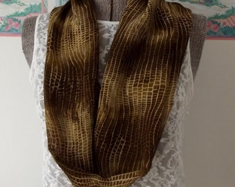 Fabric Infinity Scarf, Sheer, Brown, Yellow, Tan, Modern Print, Animal Print, Shorter Length