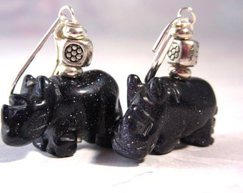 Rhino Carved Stone Earrings / Blue Goldstone Drop Earrings / Rhinocerus Jewelry / Rhino Jewelry / Artisan Jewelry / Gift for Animal Lovers