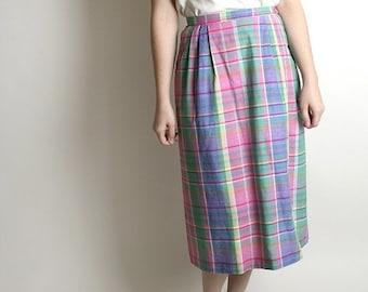 ON SALE Vintage Plaid Pencil Skirt - Sweet Sunday Preppy Pastel Long 1980s Fashion
