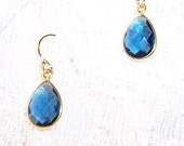 Sale - Blue Sapphire Faceted Hydro Quartz Gold Plated on Sterling Bezel Setting Dangle Earrings