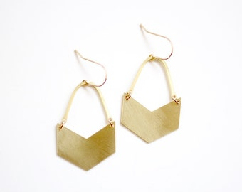 Geometric Chevron Arch Earrings - Gold or Silver