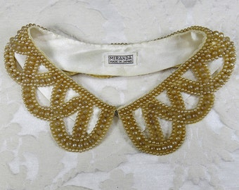 Vintage Scalloped Beaded Pearl Collar, Open Work Weave ... Miranda, Made in Japan  ... Hand beaded Faux Pearl Collar, Bib Necklace