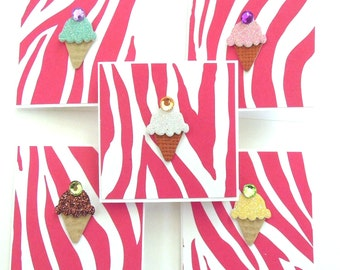 Teeny Tiny Ice Cream Mini Cards - Set of 5