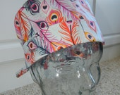 Tie Back Surgical Scrub Hat with Fancy Feathers