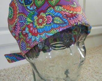 Tie Back Surgical Scrub Hat with Vibrant Garden