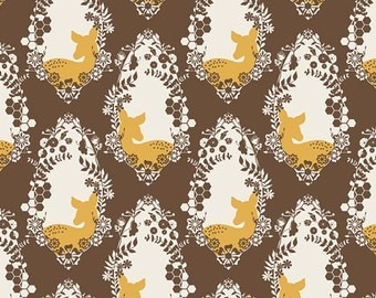 SALE Sweet as Honey fabric, Deer fabric by Bonnie Christine for Art Gallery, Brown fabric, Buck fabric, Cherished Deer Sepia, Choose the cut