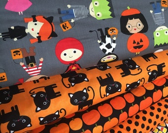 Halloween fabric, Halloween Kids fabric bundle by Ann Kelle, Fall Fabric, Cat Fabric, Halloween fabric- Fabric Bundle of 6, Choose The Cuts