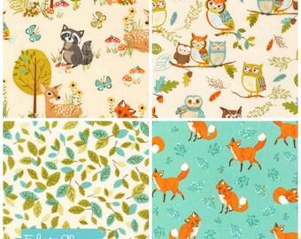 Woodland Creatures Fabric Bundle, Fat Quarter Bundle, Deer Fabric, Forest Fellows fabric by Sea Urchin Studio-Fox Fabric, Owl Fabric
