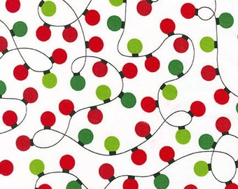 SALE fabric, Christmas Fabric, Holiday Fabric by Ann Kelle, Red fabric- Christmas Lights in White, Red and Green,  Free Shipping Available