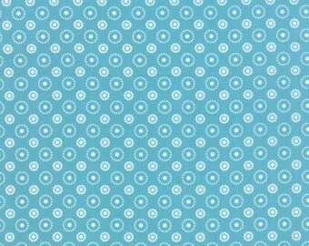 Meadow Bloom fabric by April Rosenthal for Moda Fabrics - Meadow Bloom Polka Dot in Blue. You Choose the Cut. Free Shipping Available