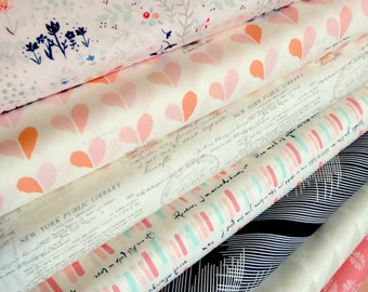 Paperie fabric bundle of 7 by Amy Sinibaldi for Art Gallery, Cotton fabric by the Yard, Book fabric, Heart fabric, Valentine fabric, Floral