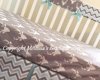 Rustic Deer & Chevron Grey and Light Aqua Baby Nursery Crib Bedding Set made with Designer Fabrics MADE TO ORDER