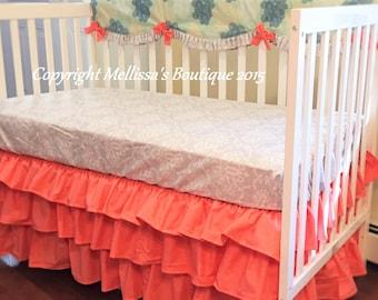 Custom READY To SHIP Designer Grey Coral & Mint Scalloped Ruffled Crib Rail Cover 3 Tier Boutique Crib Bedding Set