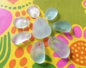 MERMAID TEARS ...8 aqua Seaham,UK sea glass finds, genuine sea glass pendants, aqua white green, jewelry supplies