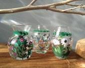 VINTAGE DECOR...3 glass bud vases, hand painted for Portmeirion,The Botanic Garden