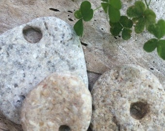 BEACH STONES with natural holes...7 organic beads - hag - good fortune - luck - make a wish- jewelry supplies