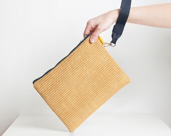 Vegan yellow raffia pochette/clutch/handbag, wristle bag, cotton strap