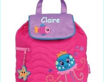Toddler backpack- monogram backpack- personalized toddler backpack- backpack diaper bag- Fish backpack - Jellyfish backpack