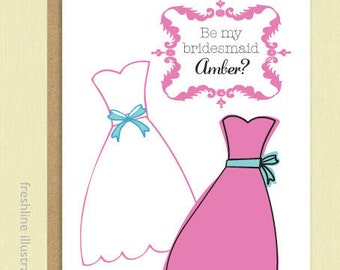 will you be my bridesmaid card, thank you bridesmaid card, be my maid of honor card, bridesmaid card set