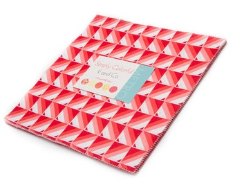 "Red Simply Colorful Moda Layer Cake, 20 - 10"" precut fabric quilt squares by V & Company"