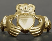 Large men Claddagh ring in solid gold, available in white gold, yellow gold, rose gold, 10kt, 14kt, 18kt