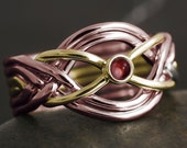 Solid gold 6 band puzzle ring with natural garnet cabochon - white gold, rose gold, yellow gold, 10kt, 14kt, 18kt