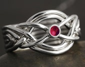 Ruby cabochon handmade 6 band puzzle ring in sterling silver