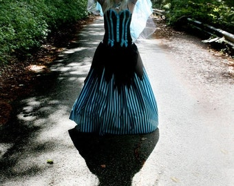 SALE Whimsical maxi long skirt striped nightmare steampunk goth fantasy wedding boho gypsy halloween - Ready to ship -Small - Sisters of the