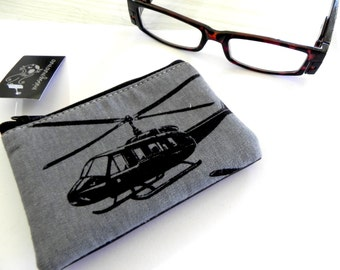Handmade  cute pouch coin purse featuring a helicopter