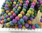 10mm Lava Rock Beads, Mixed Color Lava Rock, Blue Lava rock, Round Nugget Beads, 10-11 mm Lava Stone Beads, Lava Bead