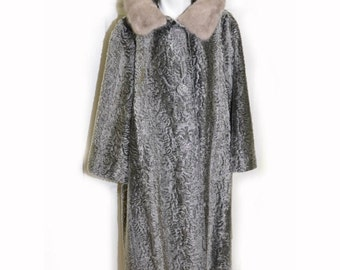 SALE Vintage 1960's Grey Faux Fur Coat with Real Fur Standup Collar