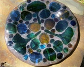 Fused Glass Plate Gingko Leaves and Jewels Embedded in Sand