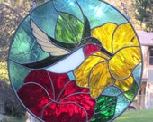 Stained Glass Ruby Throated Hummingbird Suncatcher Red Yellow Flowers