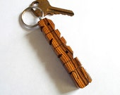 Bocote Wood Name Keychain - Carved to Order