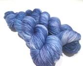 Hand Dyed Yarn – Superwash Merino Wool Cashmere Nylon MCN Sock Yarn  - Denim Blue Semi Solid - 400 Yards – Fingering Weight Yarn