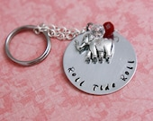 Hand Stamped Alabama Crimson Tide Keychain with Elephant Charm