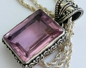 Artisan OOAK Pink Topaz Ornate Sterling Silver Boho Gypsy Pagan Festival Gift for Her Pendant Necklace