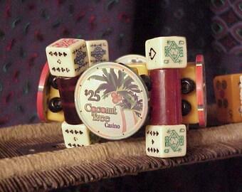 Bold Casino Chip Dice Poker Bakelite Cuff Bracelet
