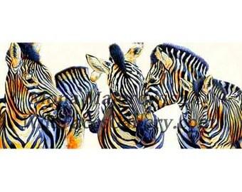 Zebra Art - Wild Things - Zebra Panaoramic Print, african art, zebra painting, zebra print, safari art. safari decor, jungle room decor