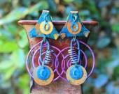 Vintage Brass Earrings, Painted Brass Earrings, Gypsy Earrings, Boho Earrings, Colorful, Junk Yard Hand Painted Brass Post Earrings V2