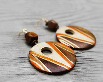 African Earrings, Wood Earrings, Wood Hoop Earrings, Afrocentric Earrings, Hoop Earrings, For Her, Togo African Wood Hoop Earrings V2