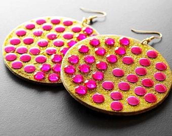Big Wood Earrings, Bejeweled Wood Earrings, Hot Pink Earrings, Glitz, Glitter Earrings, Gold, Disco Diva Bejeweled Hot Pink Wood Earrings