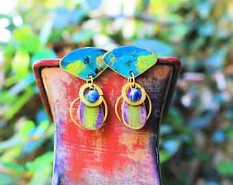 Vintage Brass Earrings, Hand Painted Brass Earrings, Colorful Earrings, Post Earrings, Maui Sunset Hand Painted Brass Post Earrings
