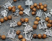 Stations of The Cross Chaplet in Brown Wood with Stations Crucifix