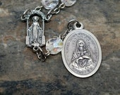 Immaculate Conception Chaplet in Crystal AB Czech Glass