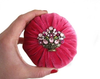 "ON SALE 4"" Pink Emery Pincushion / Pin Cushion"