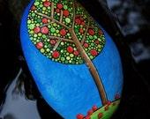 Apple Tree Stone / River Rock / Autumn Fall Season / Painted Tree Stones Series / Dot Art Rock /Leslie Peery / Mitsel8