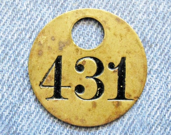 Miners Brass Number 431 Tag Antique Coal Mining Tool Id Check Painted Numbered Fob Token Rustic Relic for Repurpose